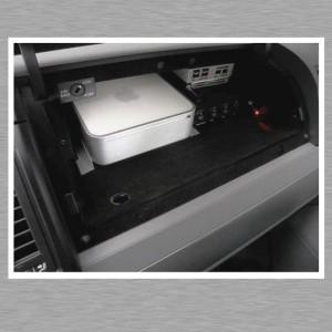 Mac mini Car PC - Quickout Halterung im Handschuhfach inklusive extra Belüftungssystem und Kühlung für den Mac mini