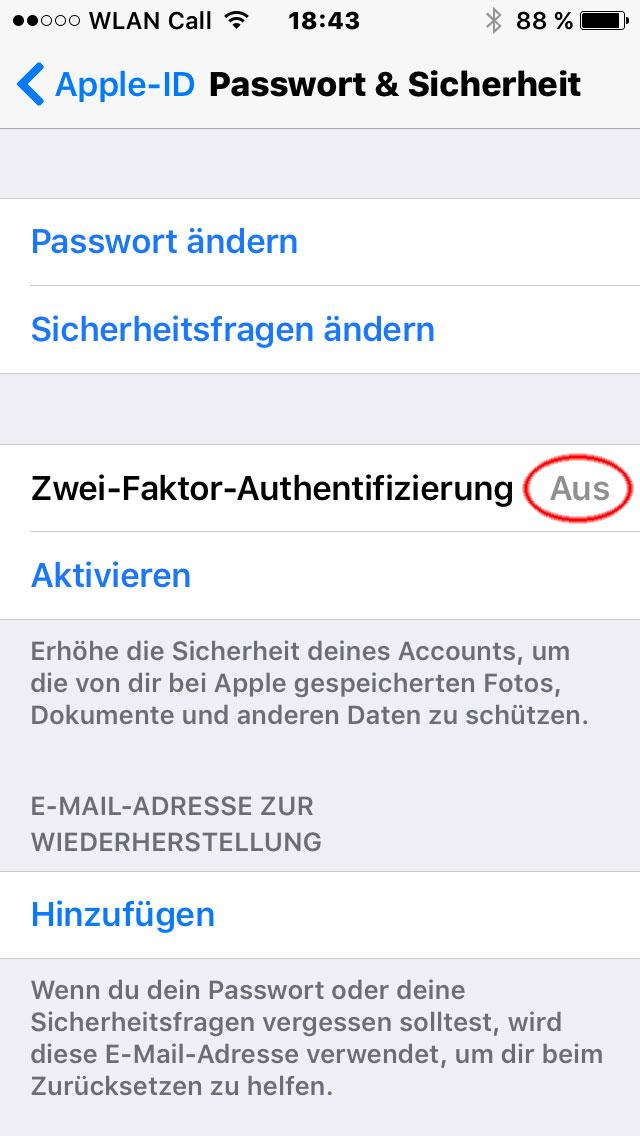 Apple 2 Faktor Authentifizierung unter iOS