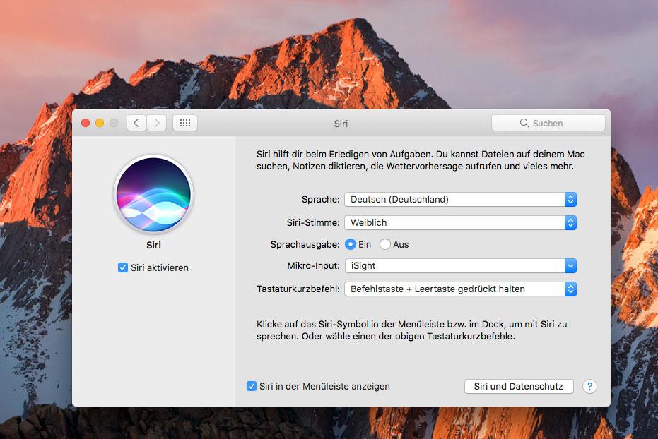 Siri - neu in OS X 10.12 Sierra