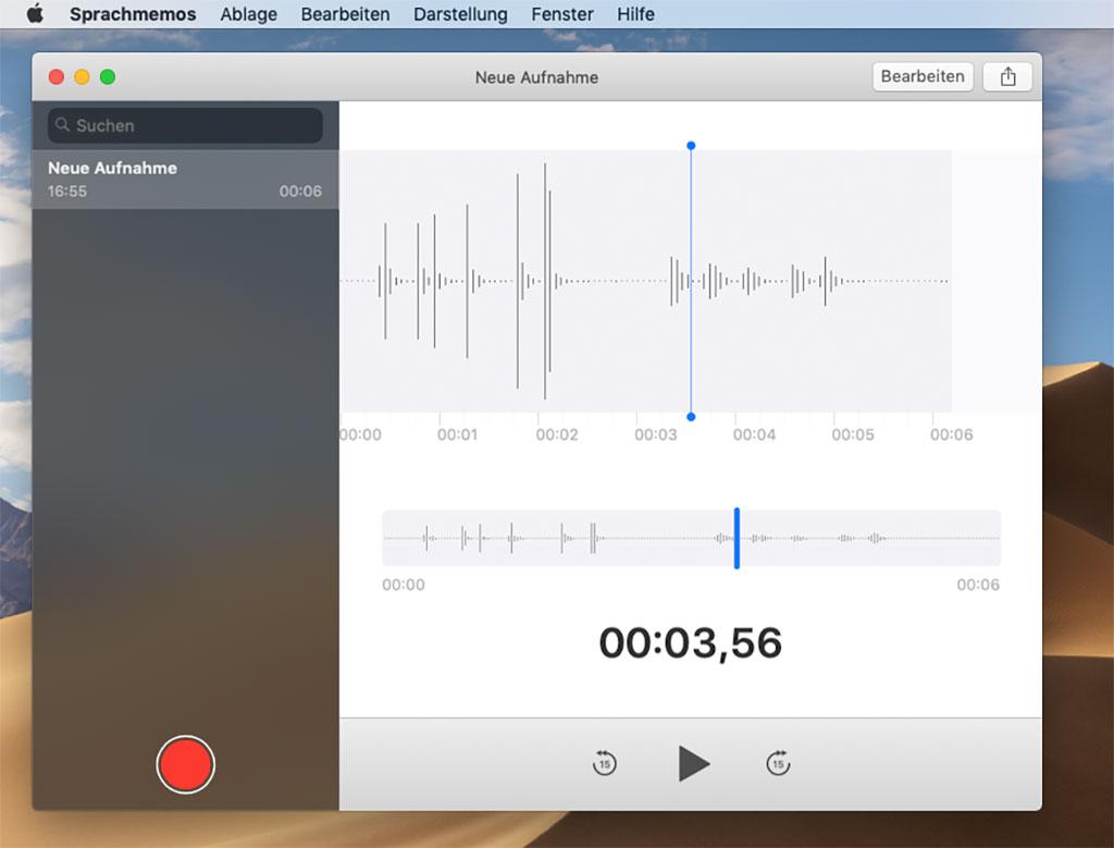 Mac OSX Mojave - App Sprachmemos