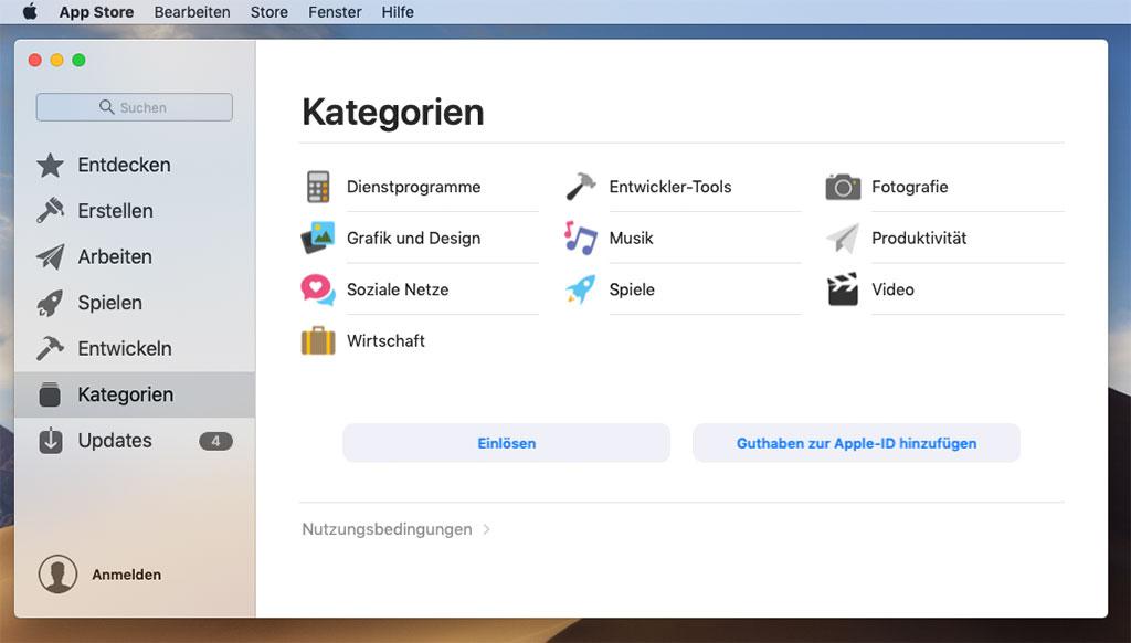 überarbeiteter AppStore mit Kategorien