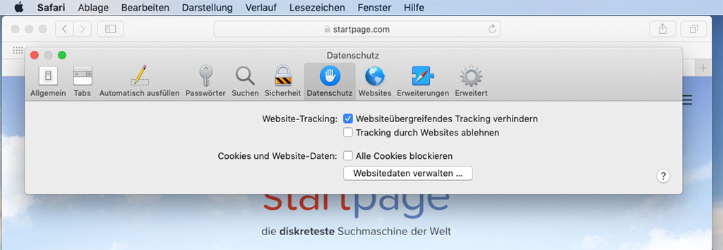 webseitenübergreifendes Tracking verhindern