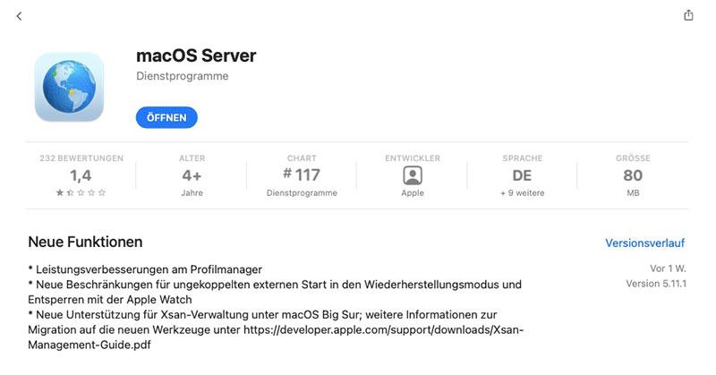Apple OSX Big Sur - AppStore OSX Server Bewertung